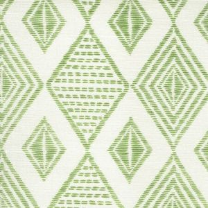 AC850-06 SAFARI EMBROIDERY Jungle Green on Tint Quadrille Fabric