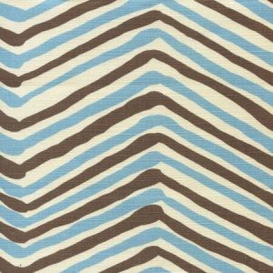 AC950-05 ZIG ZAG MULTI COLOR New Blue New Brown on Tint Quadrille Fabric
