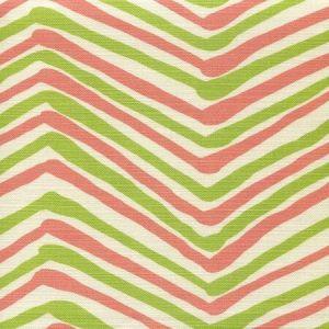AC950-08 ZIG ZAG MULTI COLOR Coral Jungle Green on Tint Quadrille Fabric