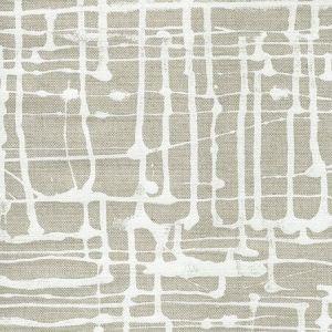 AC993C-WHITE TWILL White on Oatmeal Quadrille Fabric