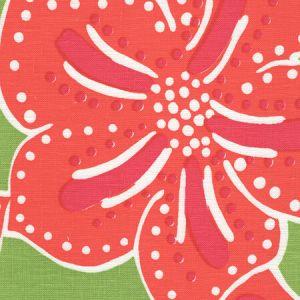 AC125-05 ALBANY MULTICOLOR Multi Magenta Orange on Green Quadrille Fabric