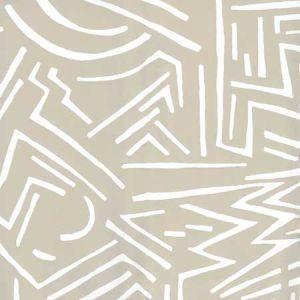 AP204-0 LASCAUX White On Oatmeal Quadrille Wallpaper
