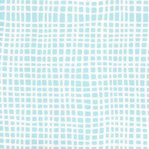 AP403-08PV CRISS CROSS Turquoise On White Vinyl Quadrille Wallpaper