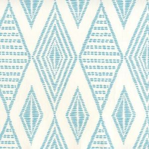 AP850-03 SAFARI EMBROIDERY Medium Turquoise On Almost White Quadrille Wallpaper