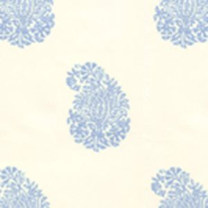 6040-01WP BANGALORE PAISLEY French Blue On Almost White Quadrille Wallpaper