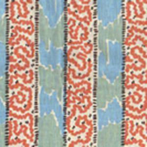 5060-01WP BIJOU STRIPE New Blue New Shrimp Quadrille Wallpaper