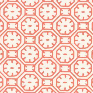 8150WP-07 CEYLON BATIK Orange On Almost White Quadrille Wallpaper