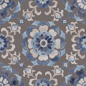 DD347424 Tracy Medallion Blue Brewster Wallpaper