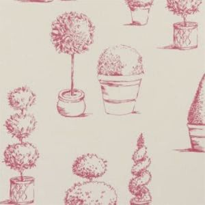 F0430/04 TOPIARY Raspberry Clarke & Clarke Fabric