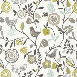 F0990/01 FOLKI Chartreuse Charcoal Clarke & Clarke Fabric