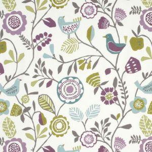 F0990/02 FOLKI Heather Olive Clarke & Clarke Fabric