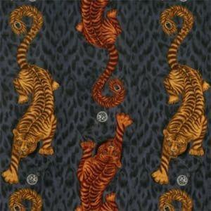 F1213/01 TIGRIS VELVET Flame Clarke & Clarke Fabric