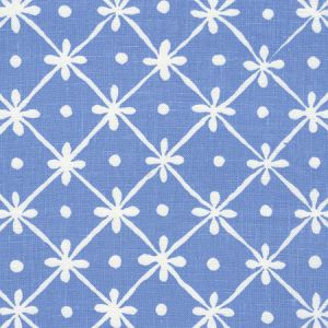 9955W-24 GATE HOUSE REVERSE ONE COLOR French Blue On Oyster Quadrille Fabric