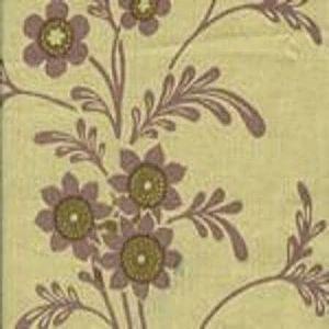 HC1260T-03 LORRAINE Lilac Olive on Tan Quadrille Fabric
