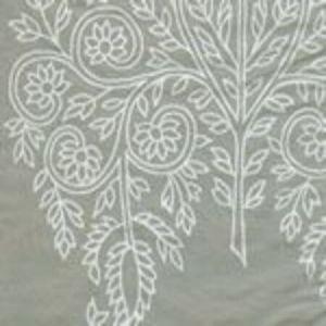 HC1480S-01 TAJ White on Gray Silk Taffeta Quadrille Fabric