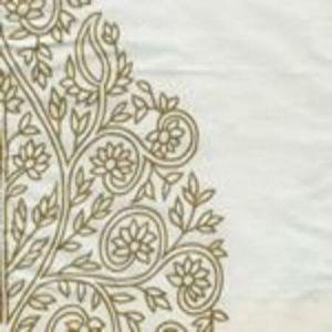 HC1480S-02W TAJ Tobacco on White Silk  Quadrille Fabric