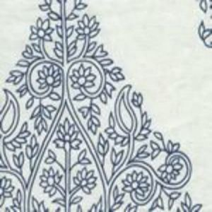 HC1480W-03 TAJ Navy on White Linen Quadrille Fabric