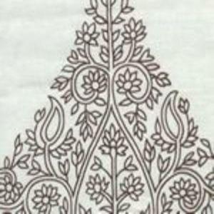HC1480W-04 TAJ Brown on White Linen Quadrille Fabric