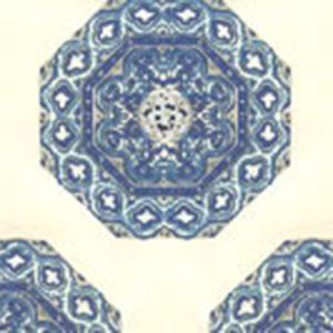 HC1700W-08WP MEDALLION Navy French Blue On Off White Quadrille Wallpaper