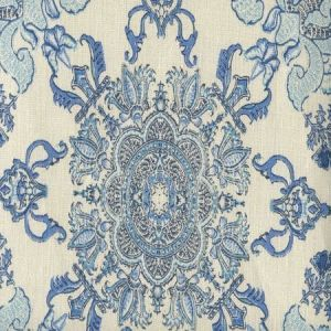 HC1980C-01 ISFAHAN Multi Celeste Blue on Cream Quadrille Fabric