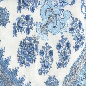 HC1980C-01WLC ISFAHAN Multi Celeste Blue on White Linen Cotton Quadrille Fabric