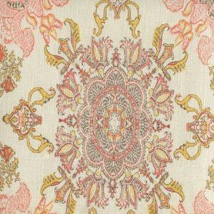 HC1980C-02 ISFAHAN Multi Melon Gold Brown on Cream Quadrille Fabric