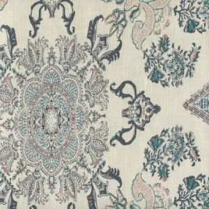 HC1980C-04 ISFAHAN Multi Blues Pink Gold on Cream Quadrille Fabric