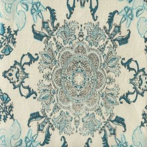 HC1980C-05 ISFAHAN Multi Turquoise Celadon Teal on Cream Quadrille Fabric