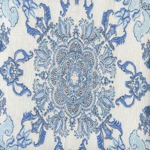 HC1980I-01IV ISFAHAN Multi Celeste Blue on Ivory Quadrille Fabric