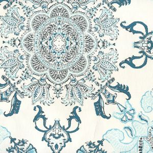 HC1980W-05AWP ISFAHAN Multi Turquoise Celadon Teal On Almost White Quadrille Wallpaper