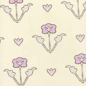 HC1995W-03OWP CLEMENTINE ALL OVER Lilac Purple Brown On Off White Quadrille Wallpaper