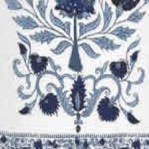 HC2010I-05 KALAMKARI BORDER Dark Blue on Ivory  Quadrille Fabric