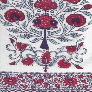 HC2010I-07 KALAMKARI BORDER Red Burgundy Purple on Ivory Quadrille Fabric