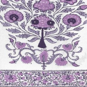 HC2010I-09 KALAMKARI BORDER Purple Lavender on Ivory  Quadrille Fabric