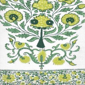 HC2010I-10 KALAMKARI BORDER Green Lime Leaf on Ivory Quadrille Fabric