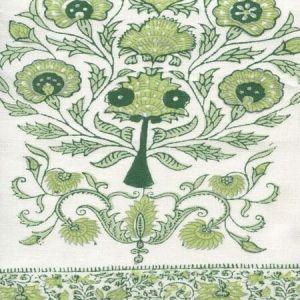 HC2010I-11 KALAMKARI BORDER Sage Green on Ivory Quadrille Fabric