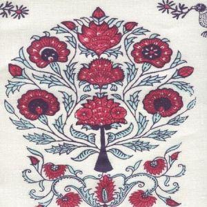 HC2015I-07 KALAMKARI ALL OVER Red Burgundy Purple On Ivory Quadrille Fabric