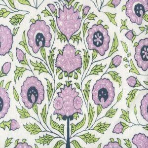 HC2020I-04 KALAMKARI FLORAL Lavender Green Navy on Ivory Quadrille Fabric