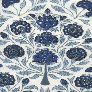 HC2020I-05 KALAMKARI FLORAL Slate Sky Royal Dark Blue on Ivory Quadrille Fabric