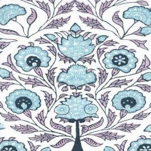 HC2020I-06 KALAMKARI FLORAL Lavender Sky Navy On Ivory Quadrille Fabric