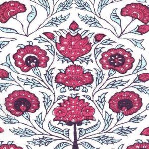 HC2020I-07 KALAMKARI FLORAL Red Burgundy Purple On Ivory Quadrille Fabric