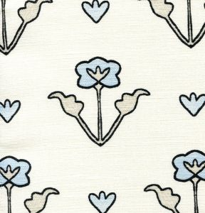 HC1995-07 CLEMENTINE ALL OVER Charcoal Grey Blue on Tint Quadrille Fabric