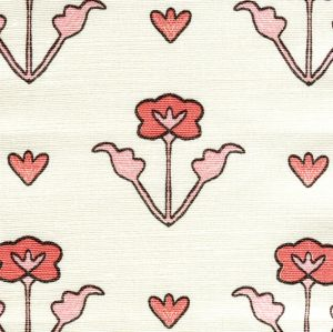 HC1995-02 CLEMENTINE ALL OVER Peach Pink Brown on Tint Quadrille Fabric