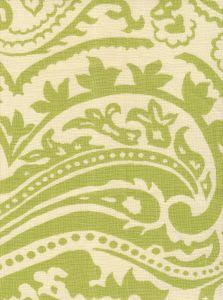 HC1880C-01 INDOCHINE PAISLEY Celadon on Cream Quadrille Fabric