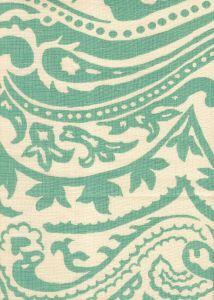 HC1880C-02 INDOCHINE PAISLEY French Green on Cream Quadrille Fabric