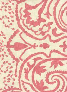 HC1880C-06 INDOCHINE PAISLEY Pink on Cream Quadrille Fabric
