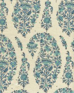 HC1955C-09 KASHMIR PAISLEY Blue on Cream Linen Quadrille Fabric
