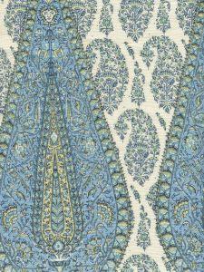 HC1950C-01 KASHMIR PAISLEY LARGE Celeste on Cream Linen Quadrille Fabric