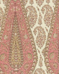 HC1950C-06 KASHMIR PAISLEY LARGE Pink on Cream Linen Quadrille Fabric