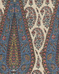 HC1950T-12 KASHMIR PAISLEY LARGE Red Navy Blue Gold on Tan Linen  Quadrille Fabric